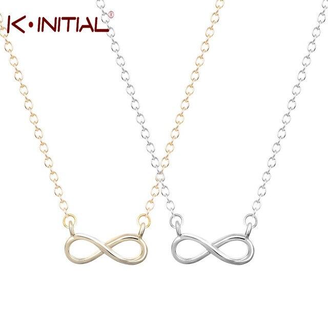 a876a7b5a2d1 Colgante de plata infinito de plata de oro Kinitial símbolo Cruz encanto collar  largo declaración de
