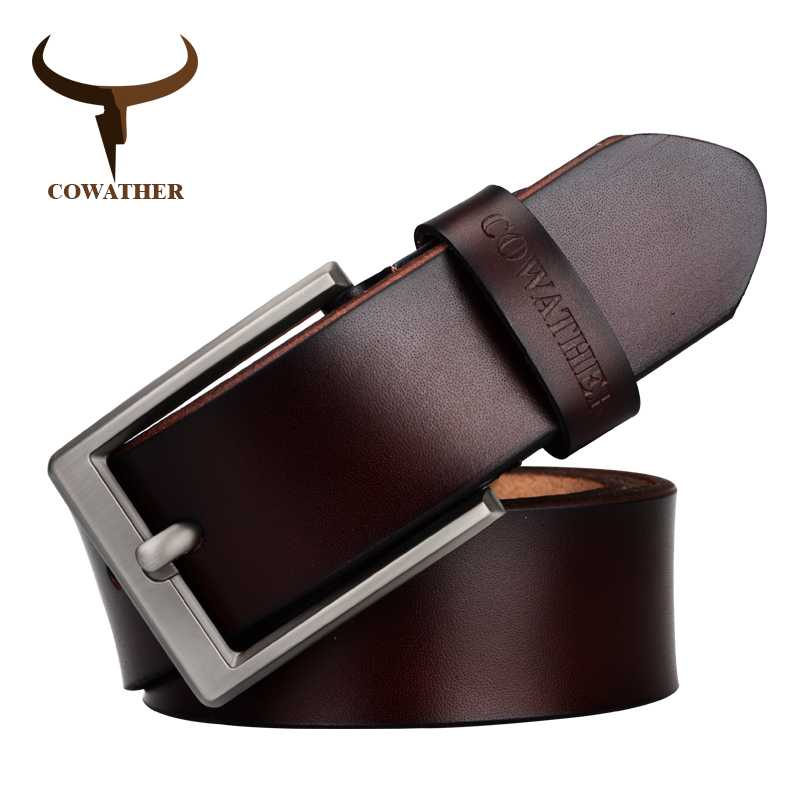 COWATHER men's dress cow genuine leather classic pin buckle strap solid fashion smooth adjustable black brown coffee gift wrap