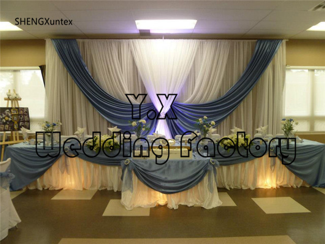 white and sky blue color cheap price wedding backdrop curtains