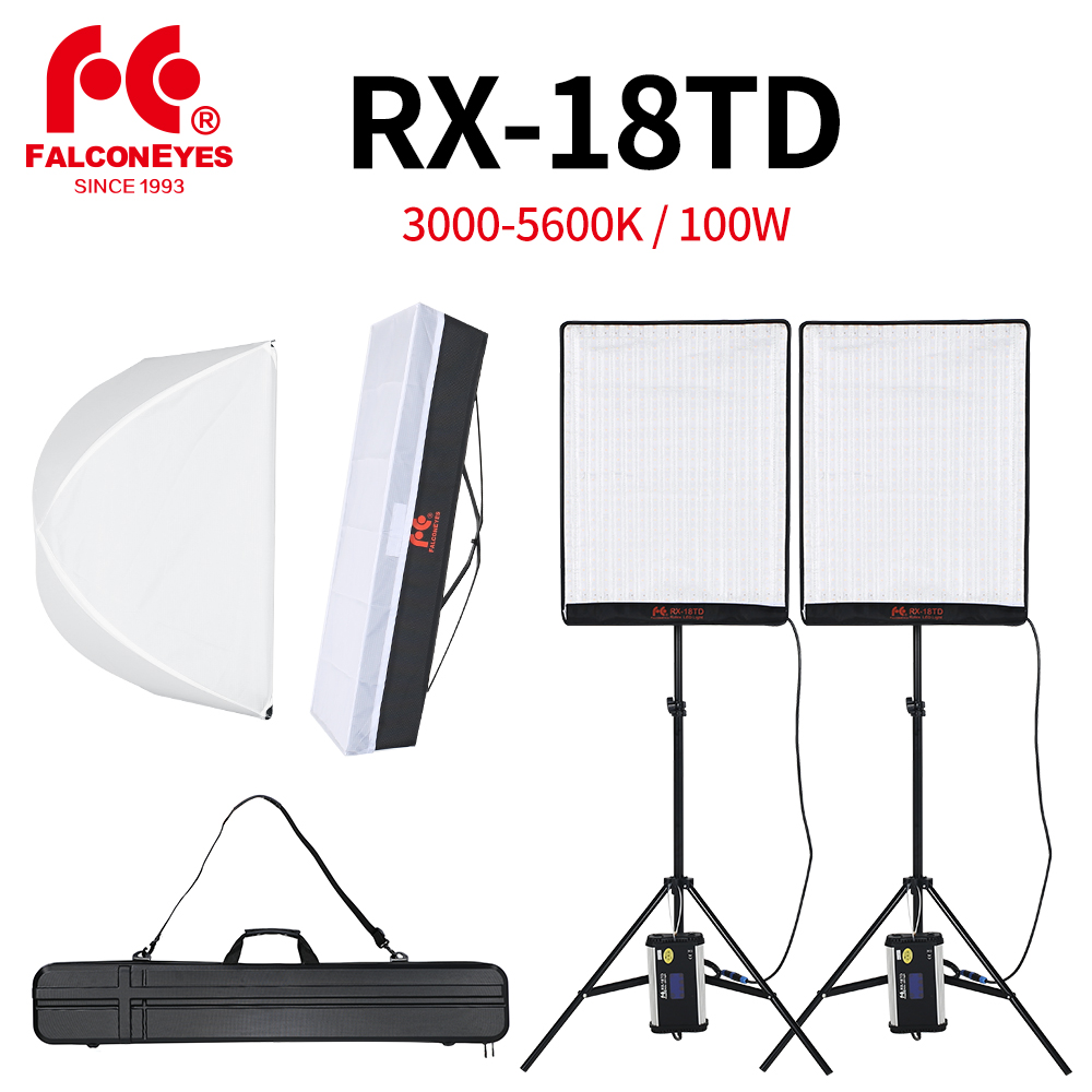 ファルコンアイズ 2 個 RX 18TD 100 ワット調光対応 Led ビデオライト 504 個柔軟な巻き布ランプディフューザー + アウトドアキャリーバッグキット  グループ上の 家電製品 からの 写真用照明 の中 1