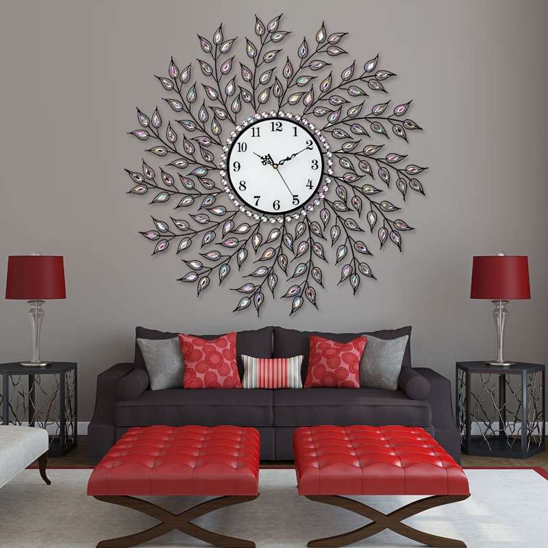 Tuda Free Shipping  8 Inches Willow Shaped mute Wall Clock Modern European Style Quartz Clock Diamond Home Decor Hanging Clock gold metal duvar saati