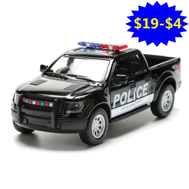 1:46 Pull Back Police & Fire Rescue Car Toy, Simulation SVT Raptor SuperCrew Police Cars Model, Hot Toys, Brinquedos