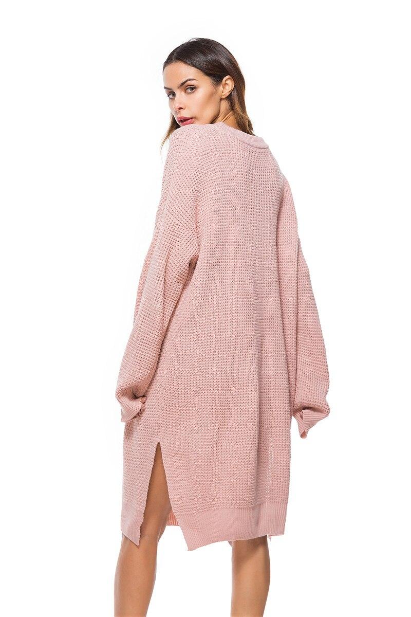 Fall Winter Vintage Mustard Side Slit Crochet Sweater Dress for Women Cute Ladies Retro Cosy Loose Split Pullover One Size 31