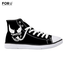 FORUDESIGNS Venom Printed Mens Ankle Canvas Shoes Cartoon Comfort Vulcanized Male Black Breathable Sneakers