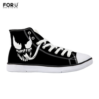 FORUDESIGNS Venom Printed Men's Ankle Canvas Shoes Cartoon Comfort Vulcanized Shoes Male Black Canvas Shoes Breathable Sneakers