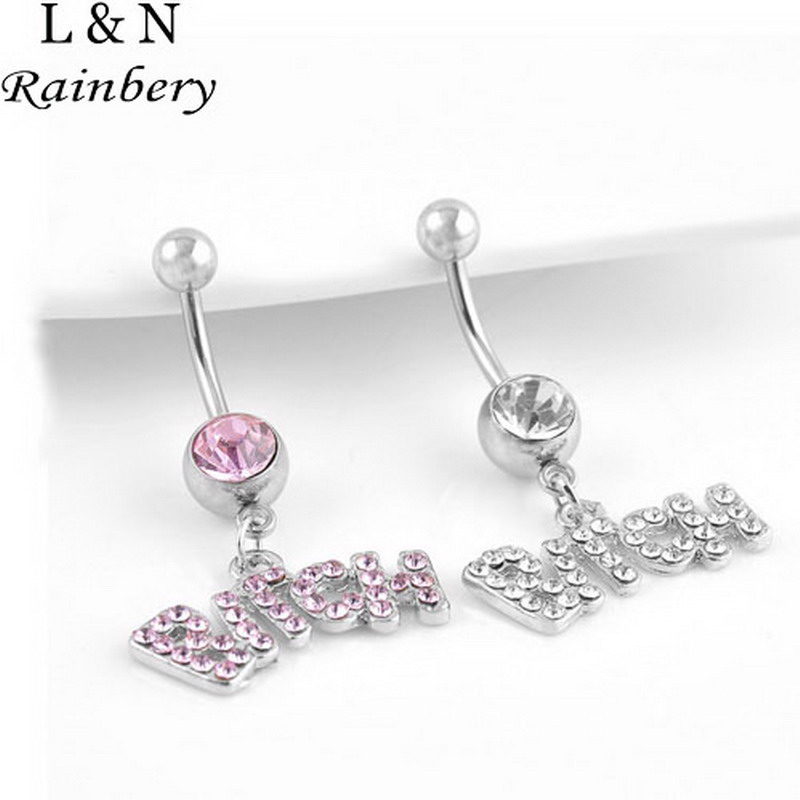 """Rainbery 3 Pc 2017 Letter Bitch """"Trendy"""" Silver Sexy Crystal Body Navel Piercing Belly Button Rings For Women's Body Jewelry"""