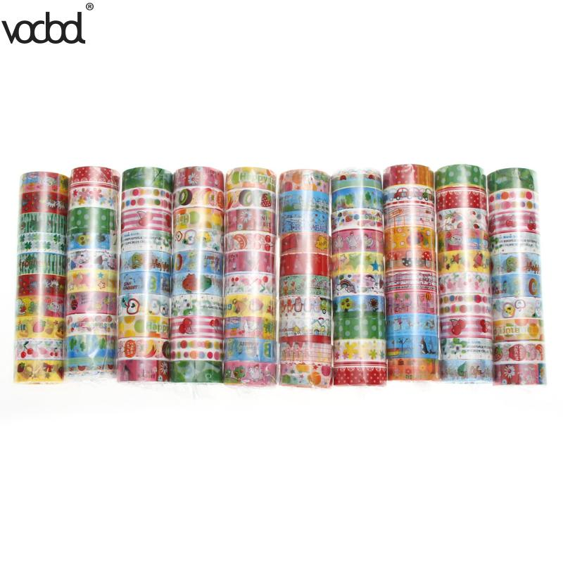 10pcs/1.5cmX3m Japanese Washi Tape Crafts Mixed Styles Cartoon Patterns DIY Decor Adhesive Tape Set Masking Paper Tapes Sticky