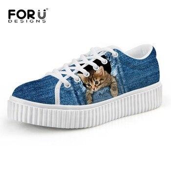 FORUDESIGNS kobiety mody Denim buty pnącza wysokiej jakości kobiece sznurowane buty na koturnie damskie słodkie zwierzęta kot pies drukowane mieszkania