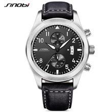 SINOBI Reloj de Los Hombres Relojes Para Hombre de Primeras Marcas de Lujo Cronógrafo Relojes Deportivos Luminosos de Cuero Negro Reloj de Los Hombres relogio masculino