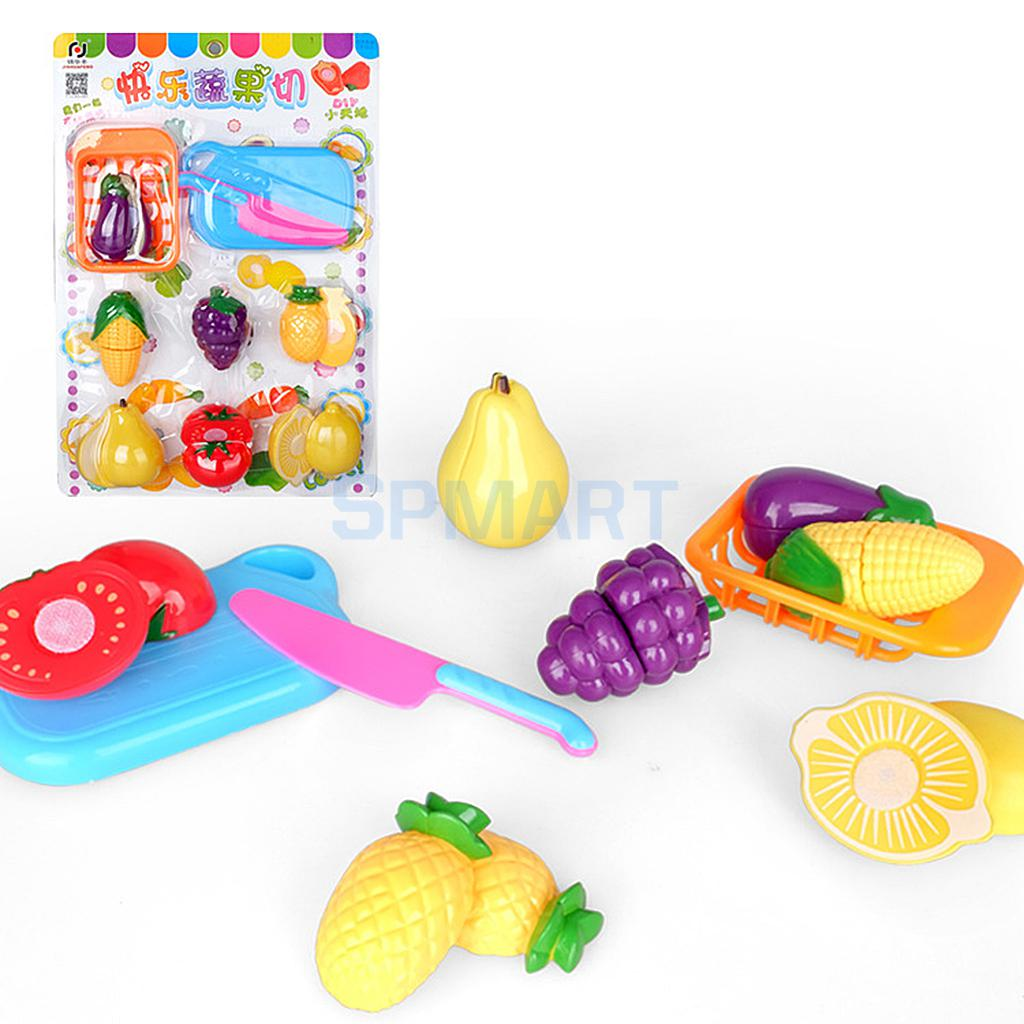 Kids Children Toy Fruit & Veg Vegetable Plastic Role Pretend Kitchen Cutting Food