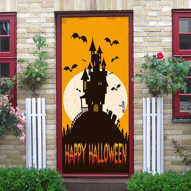 20c98dfcb007 Orange Blackground Blanc Lune Chauve-Souris Noir Château Silhouette Sticker  Home Halloween Décoration Nouveau Qualifié