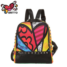 Purchase BRITTO  Printing Backpack Student  School Bags For Teenage  Graffiti Style Bookbags Vintage Laptop Backpacks