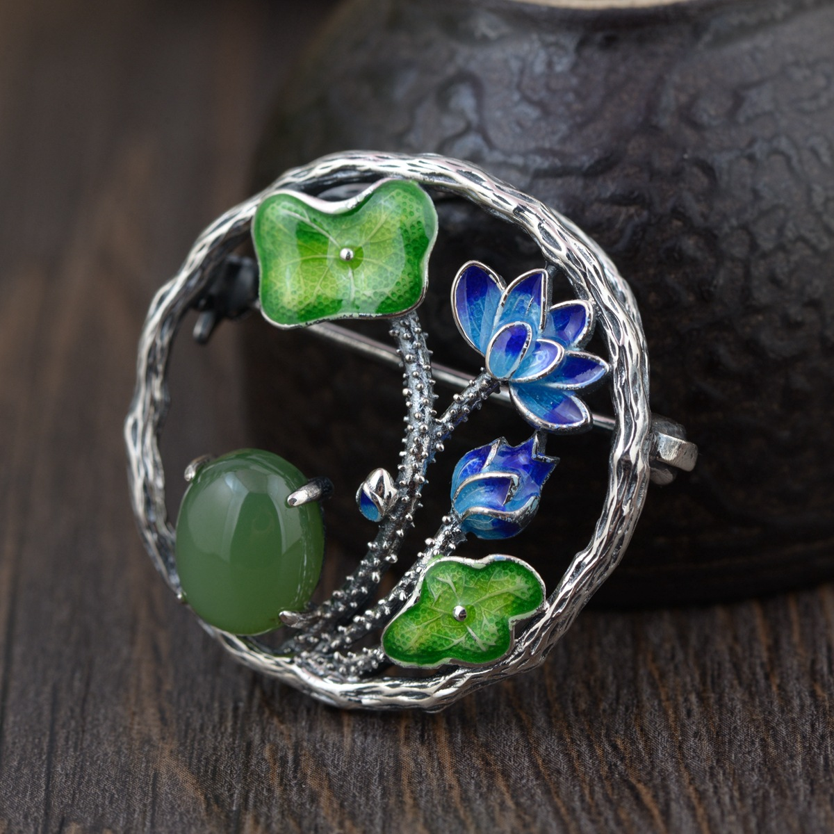 Thai Silver Lotus Brooch Pendant Handmade Flower Enamel Silver Brooches Flowers Natural Stone Chinese Style Pins Jewelry SBH0005 все цены
