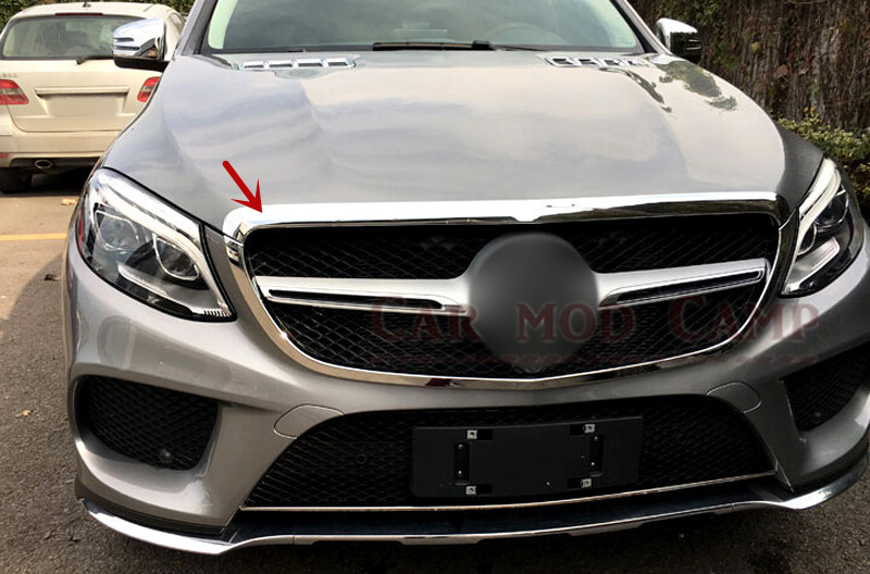 For Benz GLE Coupe 2015 2016 ABS Chrome Front Head Grille Grill Decorative Frame Cover Trim 2pcs Car Styling front grille led emblem logo light 4 colors abs decorative grill lamp for f ord r anger t7 2016 2017 car styling