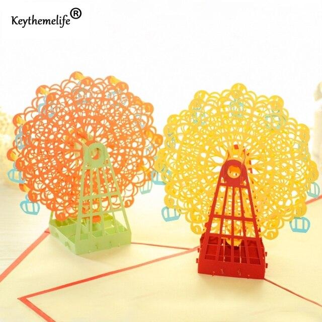 3D CARDS Postcards Qualtiy Paper Handmade Ferris Wheel Birthday Wishes Card Pop Up Greeting Invitations Use Fast Ship DF