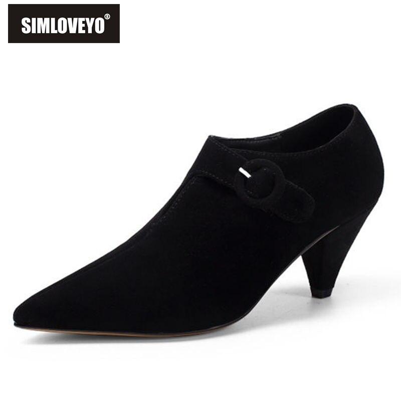 SIMLOVEYO Women Shoes Pumps Ladies Kitten Heels Shoes Med High Heel Formal Dress Shoes Pointed Toe Ladies Fashion Shoe B580