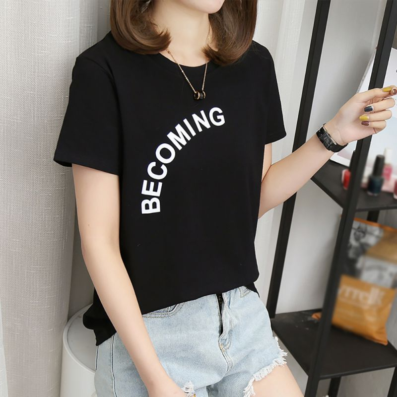 Korean Style Fashion White Black Khaki O Neck Short Sleeve Harajuku Casual Tshirt Kawaii girl Letter Print Women T shirts Tops in T Shirts from Women 39 s Clothing