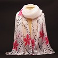 2016 New Fashion Soft Chiffon Silk Scarf Women Flower Printed Cachecol Long Shawls and Scarves Wraps Echarpes Foulard Wholesale