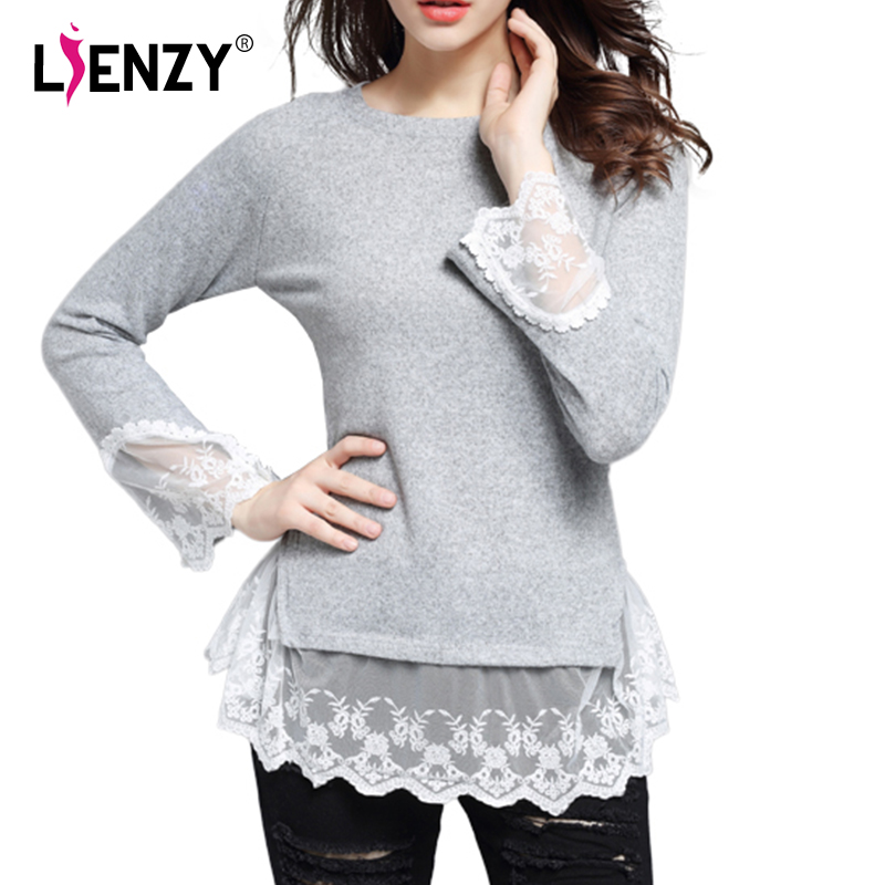 2016 Spring New Women Sweater Stitching Lace Long Sleeve Solid O Neck Lace Ruffles Blouses Womens