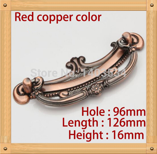 Length 126mm Hole C:C:96mm Zinc Alloy Kitchen Furniture Handle antique bedroom drawer handle Red copper color