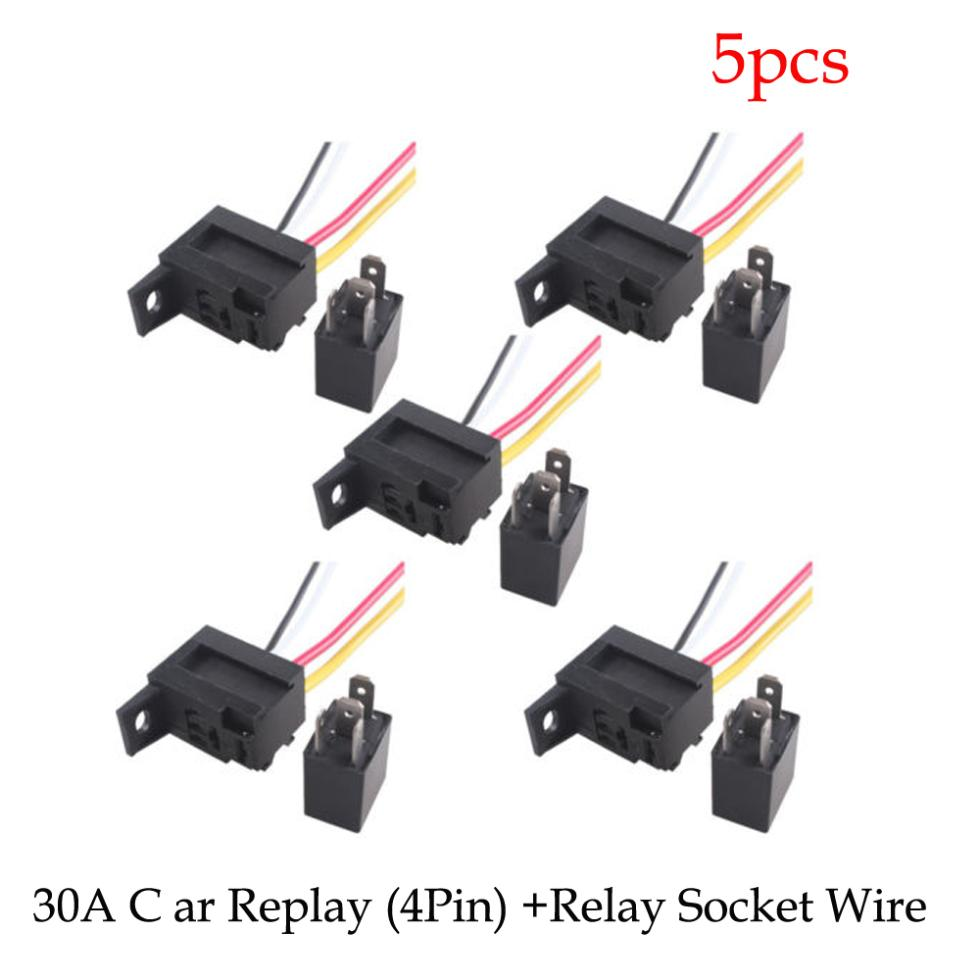 5 X Car 30a Amp 12v Relay Kit Spst For Fan Fuel Pump Light Horn 4 Prong 12 Volt 4pin Wire