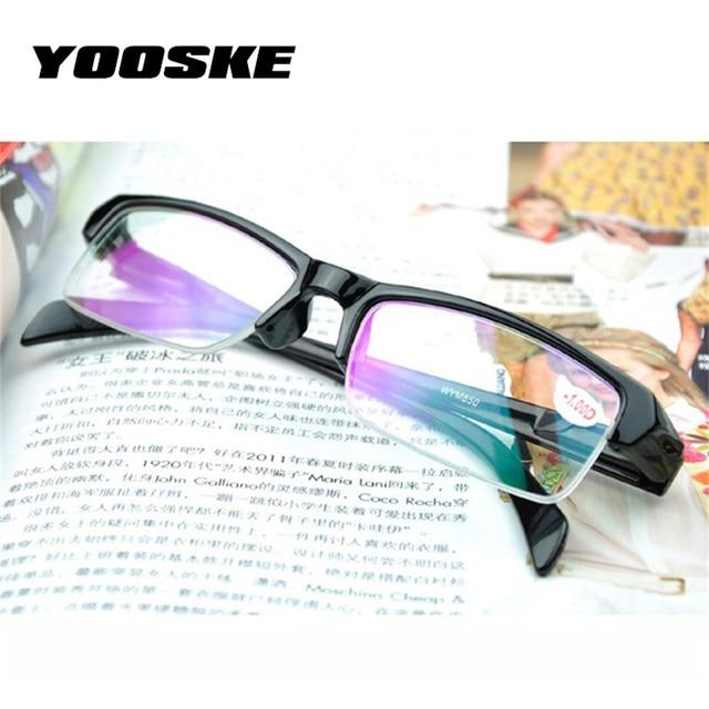 YOOSKE Half Frame Myopia Glasses Women High Quality Black Frames HD Resin Prescription -2.5 -1.5 Eyeglasses Men Minus Lens