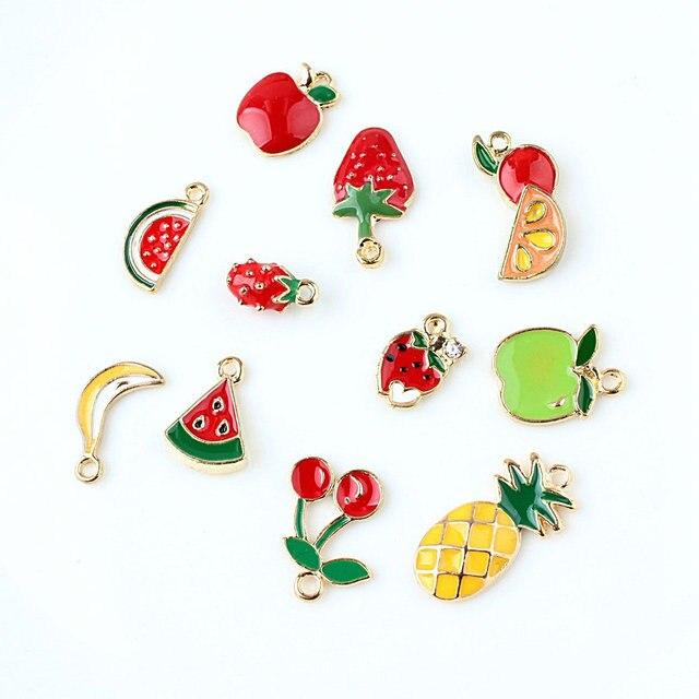 10pcs Enamel hair shoes strawberry cherry banana pineapple watermelon charms alloy chic fruit Earrings Pendant DIY accessories