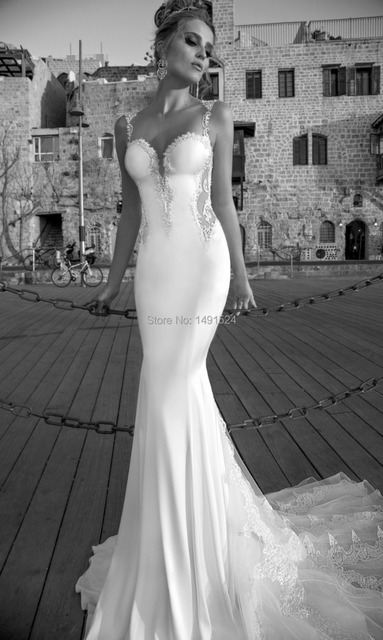 2015 Distinctive Sheer Backless Wedding Dresses Berta Bridal Gowns Applique Sexy Cap Sleeves Sweep Train White Bridal Gowns