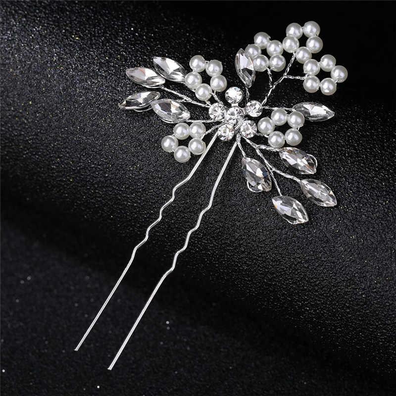קליפים רומנטי קריסטל פרל פרח סיכת ראש ריינסטון כלה כתר שיער סיכות הכלה שיער תכשיטי חתונה שיער אבזרים