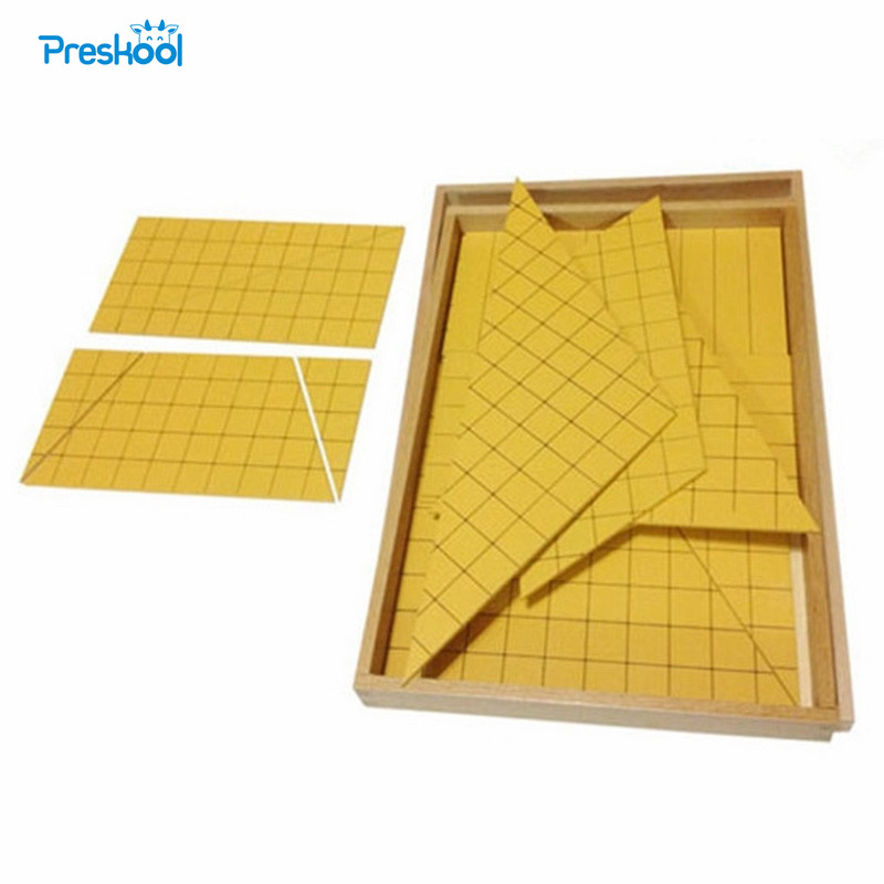 Montessori Kids Toy Baby Wood Yellow Triangles for Area Learning Educational Preschool Training Brinquedos Juguets