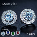 Anglegirl Round Champagne White  Cubic Zirconia 6mm Double Halo Stud Earrings with White Gold Plated 4 pieces 4 colours 601102