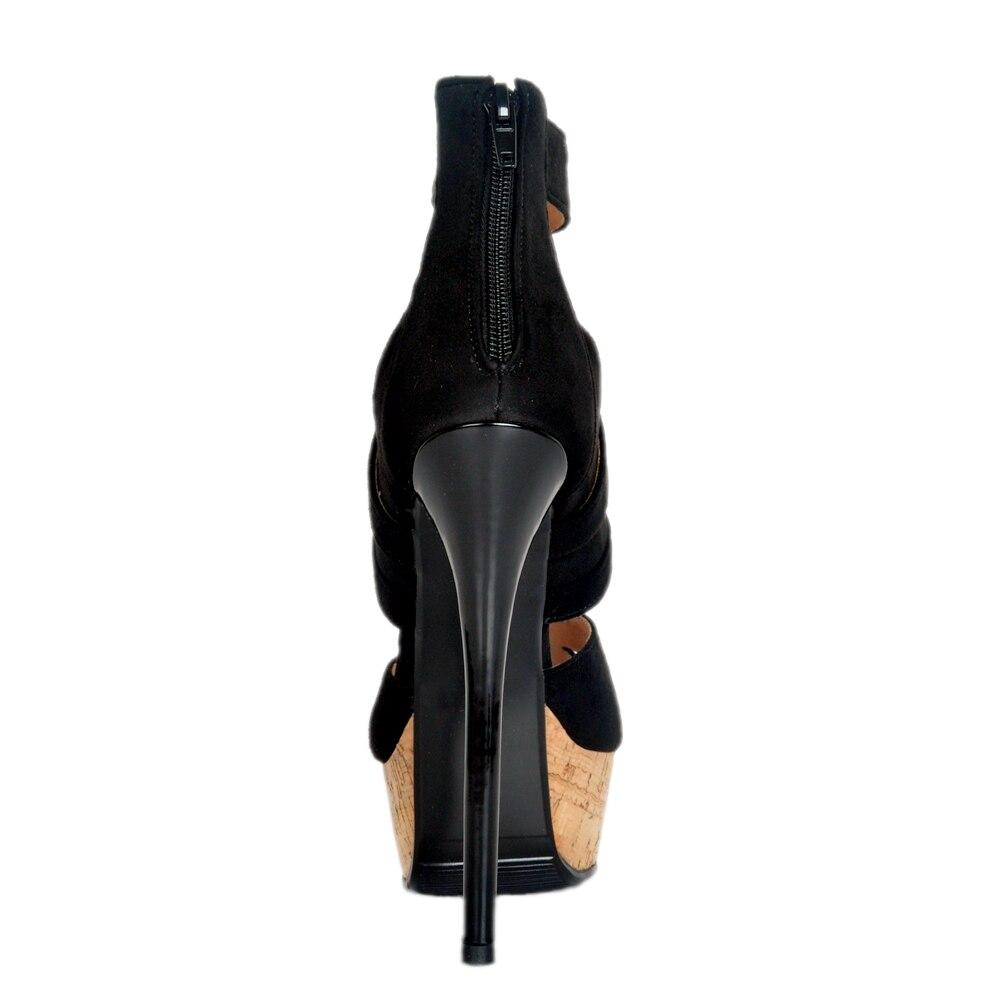 Talons Chaussures Femme Plus 10 À L'intention Femmes Noir Plate Nouvelles Taille Bout Nous 5 forme Hauts Sandales Ef1097 Ouvert 4 Minces Initiale Matures Belle HWDI2e9EY