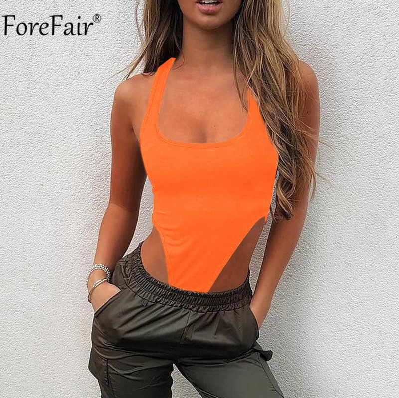 Forefair с открытыми плечами без рукавов неоновый летний Боди для женщин для стройных сексуальное боди Черный Оранжевый