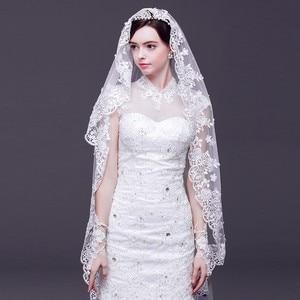 Image 2 - 2019 אופנה חתונה צעיף תחרה 3 M לבן/שנהב 1 שכבה טול צעיפי כלה לחתונה מסיבת חתונה אישה אבזרים