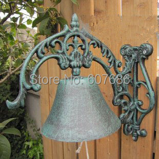 Cast Iron Welcome Dinner Bell Wall Mounted Metal Bell