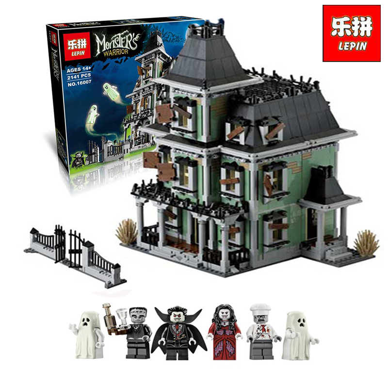 LEPIN 16007 2141Pcs City Monster Haunted House Model Building Kits Figure Blocks Bricks Children Compatible legoINGlys 10228 2141pcs monster fighters haunted house vampyre castle 16007 model building blocks children gifts sets movie compatible with lego