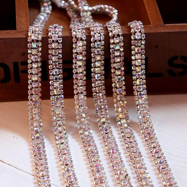 8mm Beaded Rhinestone Crystal Trim Iron On Diamond Ribbon Wrap Dress Trim  Sewing Accessories DIY Wedding Cake Party Shoes Decor bd2e842f2f03