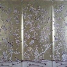 Роскошная элегантность ручная роспись золотой фольги обои живопись цветы с птицами ручная роспись обои покрытие обоев фон