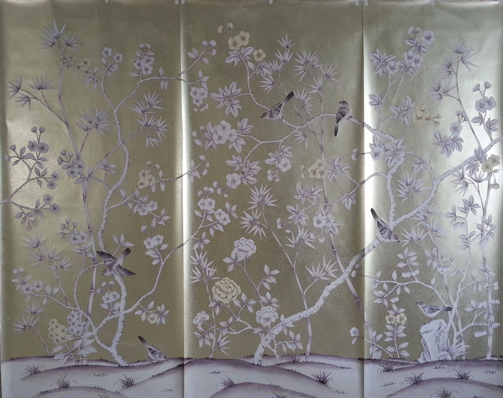 Роскошная элегантность ручная роспись Золотая фольга обои живопись цветы с птицами ручная роспись обои фон