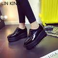 LIN REI Novas Mulheres Da Moda Bombas Low Top Lace-up Dedo Do Pé Redondo Sapatos de Plataforma de Sola grossa Sapatos de Salto Alto Tornozelo PU Sólida Feminino macio