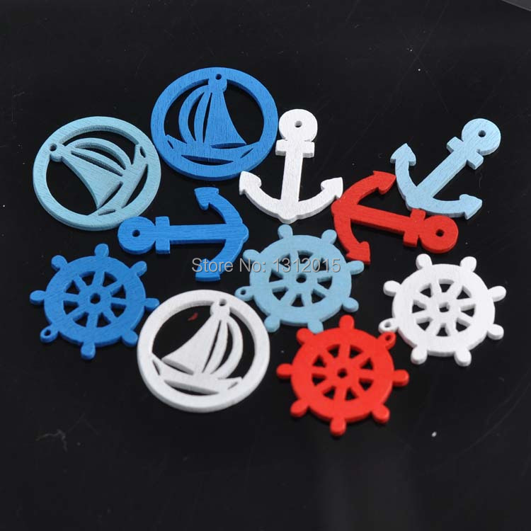 Craft Charms Anchor Scrapbooking Rudder Nautical Wood Mixed Home-Decor for Diy 50pcs
