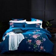 DIFUNINA Luxury Flowers Embroidered Bedding Set Long-staple Cotton 4 pcs Set Bed Sheet Pillowcase Duvet Cover Bed Linen Set bedding set полутораспальный сайлид red flowers