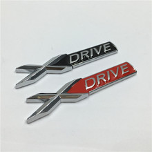2Pcs Metal XDrive X DRIVE Car Body Side Front Fender Sticker Badge Emblems for BMW 3 4 5 6 7 Series X1 X3 X5 E70 X6 E71