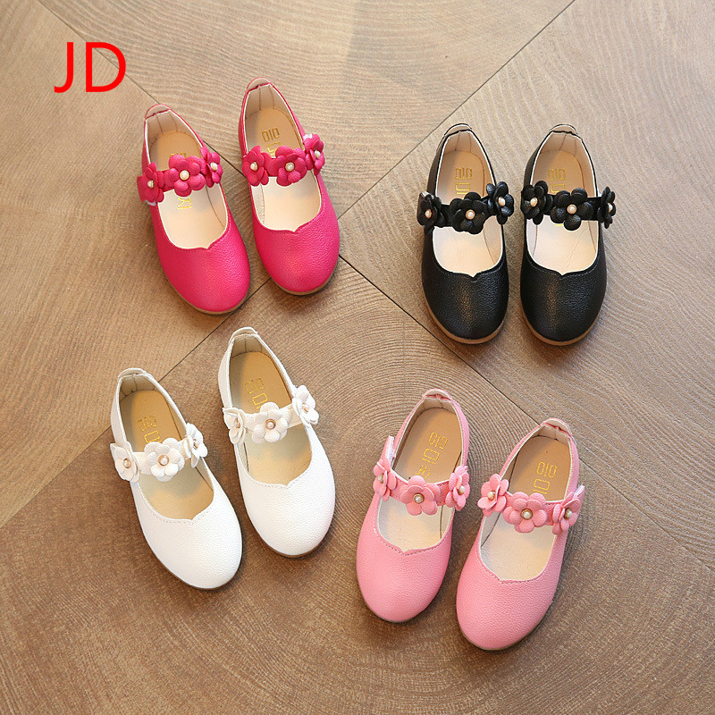 New Years Childrens Single Shoes, Soft Bottom Flowers, Girls Leather Shoes, Big Childrens Princess Shoes JD