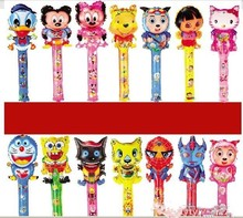 Novelty Large-scale 80cm Cartoon Aluminum Foil Balloon Stick Animal Head Balloons Refueling Inflatable Rods Cheer Item