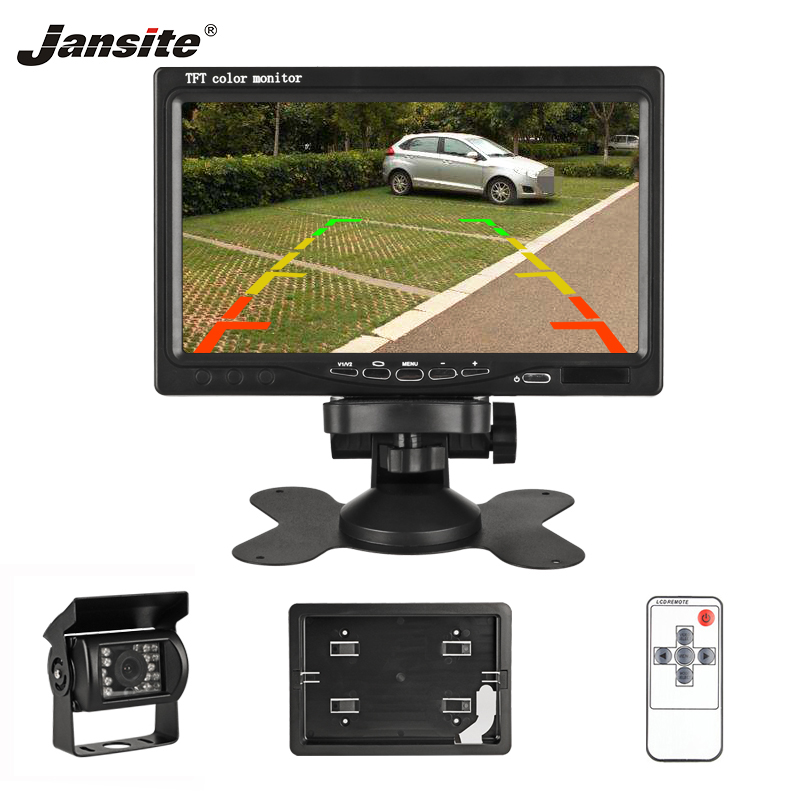 Jansite <font><b>7</b></font> <font><b>Inch</b></font> TFT LCD Car <font><b>Monitor</b></font> Display Wired Cameras Reverse Camera Parking System for Car Rearview <font><b>Monitors</b></font> Two video input image