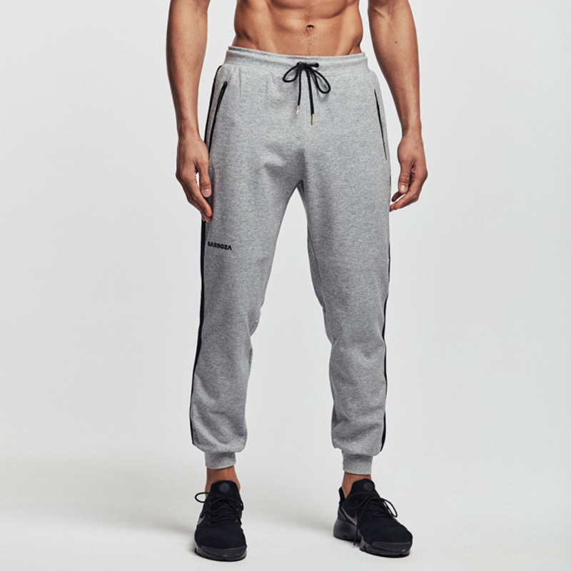 2019 New men's outdoor running fitness pants Gyms casual fitness pants Grey plus black striped casual trousers Fashion pants