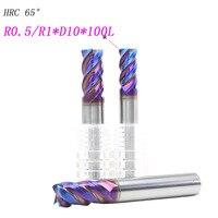3pcs 10mm hrc65 10R0.5 R1*D10*100L solide Carbide tungsten 4 Flutes Corner Radius End mill CNC Spiral Router bits Milling Tools