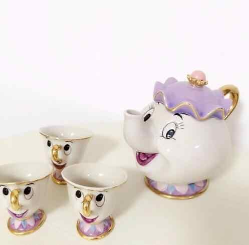 Hot Koop Oude Stijl Cartoon Schoonheid En Het Beest Theepot Mok Mrs Potts Chip Thee Pot Cup Een Set Xmas gift Voor Vriend