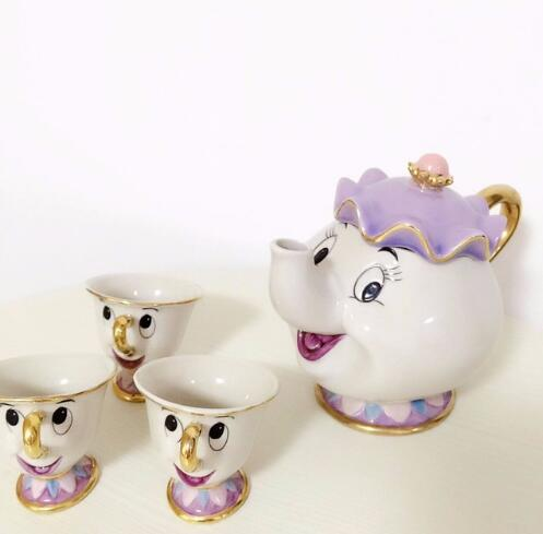 Hot Sale Old Style Cartoon Beauty And The Beast Teapot Mug Mrs Potts Chip Tea Pot Cup One Set Xmas Gift For Friend